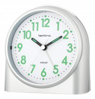 Acctim Sweeper Non Tick Alarm Clock Silver 10.5cm