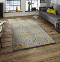 Think Rugs Hong Kong 4338 Grey/Yellow - Various Sizes
