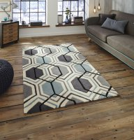 Think Rugs Hong Kong 7526 Grey/Blue - Various Sizes