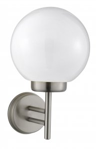 Searchlight Satin Silver Outdoor Wall Bracket Polycarbonate Ball
