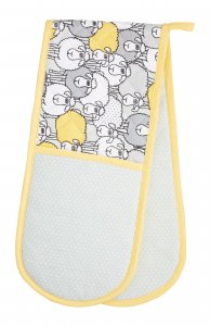 KitchenCraft Yellow Sheep Double Oven Glove 87cm x 19cm