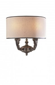 David Hunt Valerio 2 Light Wall Light Bronze Complete with Taupe Silk Shade