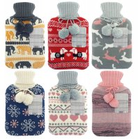 Country Club Hot Water Bottle with Knitted Cover - Assorted