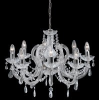 Searchlight Marie Therese 8 Light Chrome Pendant with Crystal Droplets