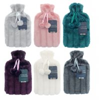 Country Club Hot Water Bottle with Luxury Faux Fur Cover - Assorted
