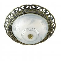 "Searchlight 13"" Antique Brass Flush Ceiling Light"
