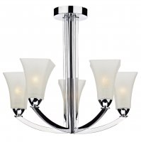 Dar Arlington 5 Light Semi Flush Ceiling Light in Polished Chrome