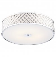 Dar Civic 2 Light Flush Small Ceiling Light Polished Chrome