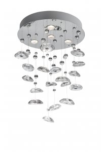 Searchlight Bubble 4 Light Chrome Pendant with Sphere Glass