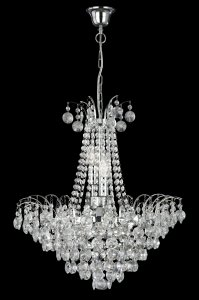 Searchlight Limoges 6 Light Chrome Chandelier with Sunflower Crystals
