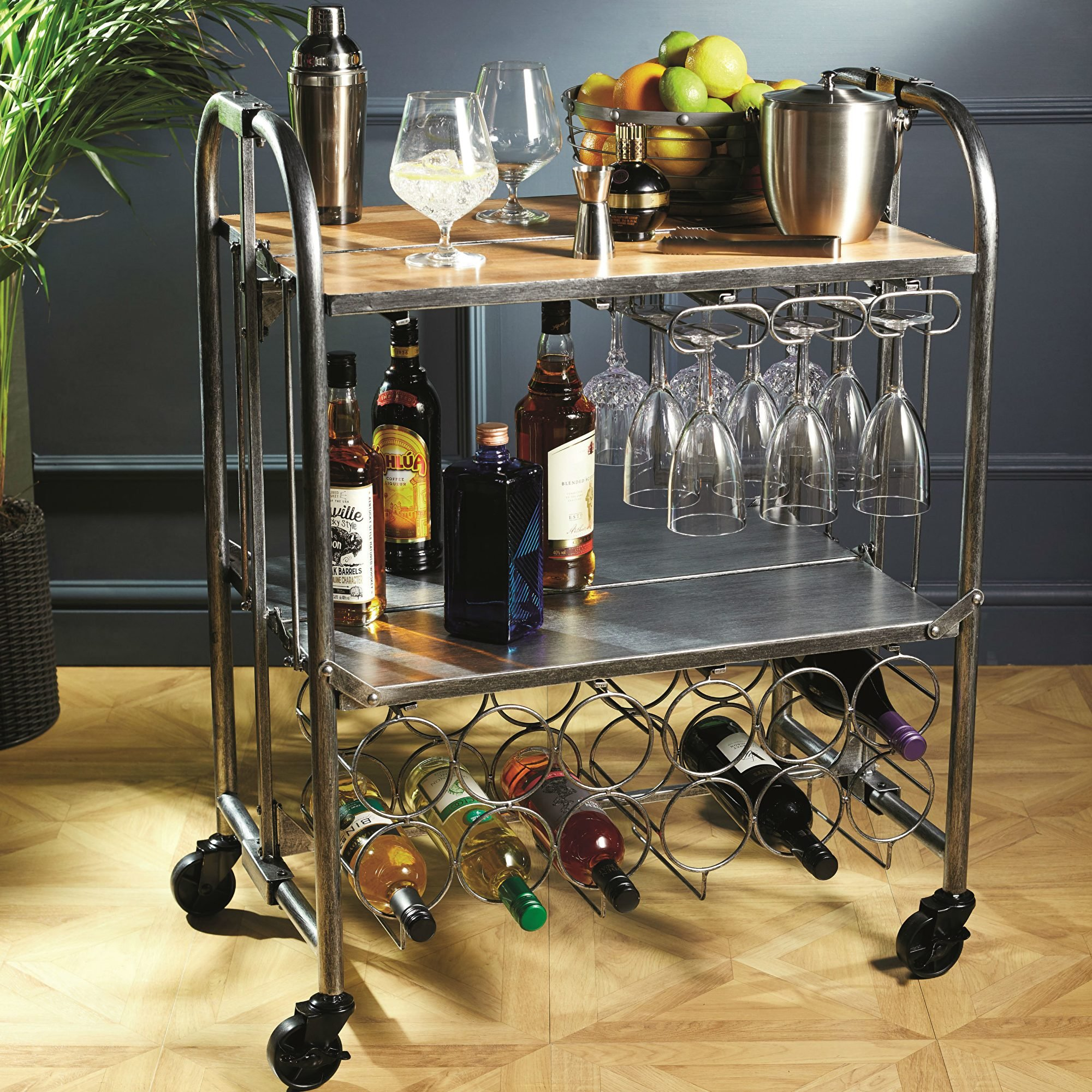 Barcraft Folding Industrial Look Carbon Steel Home Bar