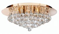 Searchlight Hanna 6 Light Gold Flush Fitting Ceiling Light with Clear Crystal Balls
