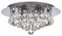 Searchlight Hanna 4 Light Chrome Flush Fitting Ceiling Light with Clear Crystal Balls