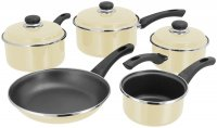 Judge Induction 5 Piece Saucepan Set (14/16/18/20cm & 24cm Frying) - Vanilla
