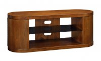"Jual Florence Walnut & Black Glass Curved Wood TV Cabinet - For 50"" Plus"