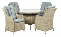 Royalcraft Wentworth 4 Seater Round Highback Comfort Dining Set