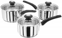 Judge Essentials 3 Piece Saucepan Set with Glass Lids (16/18/20cm)