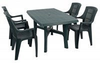 Trabella Taranto Table with 4 Parma Chairs Set Green