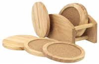 Apollo Housewares Rubberwood Coaster Set