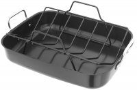 Judge Heavy Carbon Steel Non-Stick Roasting Pan & V Rack 35 x 27 x 7cm