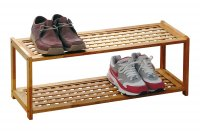 Premier Natural Walnut 2 Tier Shoe Rack
