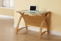 Jual Helsinki Curve Oak & White Glass Curved Wood 900mm Laptop Worktable