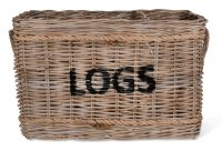 Garden Trading Log Basket with Rope, Rectangular - Rattan