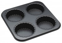 MasterClass Non-Stick Four Hole Tartlet Pan with Loose Bases 26cm x 26cm