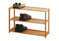 Premier Natural Walnut 3 Tier Shoe Rack