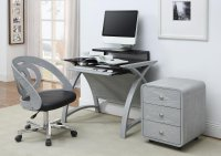 Jual Helsinki Curve Grey Ash & Black Glass Curved Wood 900mm Computer Desk