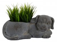 Solstice Sculptures Dog Planter 15cm Blue Iron Effect