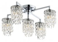 Dar Niagra 5 Light Flush Polished Chrome Clear