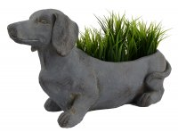 Solstice Sculptures Sausage Dog Planter 30cm Blue Iron Effect