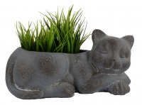 Solstice Sculptures Cat Planter 15cm Blue Iron Effect