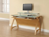 Jual Helsinki Curve Oak & White Glass Curved Wood 1300mm Computer Desk