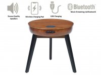 Jual San Francisco Smart Lamp Table in Walnut with USB, Wireless Charging & Bluetooth