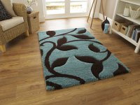 Think Rugs Fashion 7647 Blue/Brown - Various Sizes