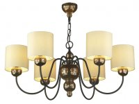 David Hunt Garbo 6 Light Bronze Pendant with Cream Shades