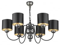 David Hunt Garbo 6 Light Pewter Pendant with Black/Silver Shades