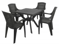 Trabella Turin Table with 4 Parma Chairs Set Anthracite