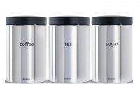 Brabantia 3 Piece Tea/Coffee/Sugar Canister Set - Brilliant Steel