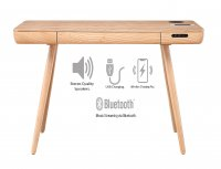 Jual San Francisco Smart Desk in Ash with USB, Wireless Charging & Bluetooth