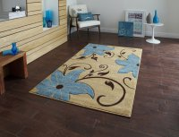 Think Rugs Verona OC15 Beige/Blue - Various Sizes