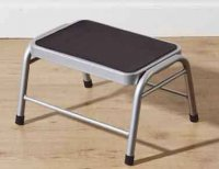 Premier Silver Metal Step Stool with Black Rubber Mat