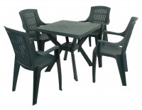 Trabella Turin Table with 4 Parma Chairs Set Green