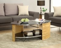 Jual San Marino Oak & Black Glass Curved Wood Oval Coffee Table