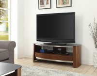 Jual Melbourne Chrome TV Stand in Walnut & Black Glass