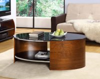 Jual San Marino Walnut & Black Glass Curved Wood Oval Coffee Table