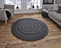Think Rugs Spiral Grey - Various Sizes