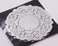 "NJ Products Cocktail Silver Lacy Doilies 3.5"" (Pack of 25)"